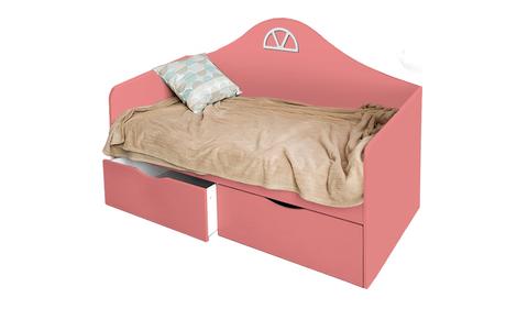 Детский диван-кровать с двумя ящиками коралл
