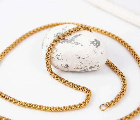 Золотистая мужская цепочка из стали (55 см)