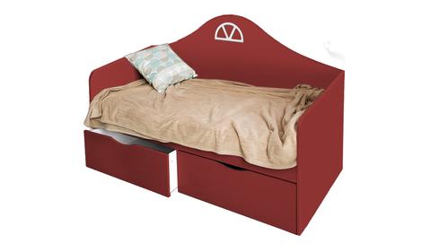 Детский диван-кровать с двумя ящиками бордо