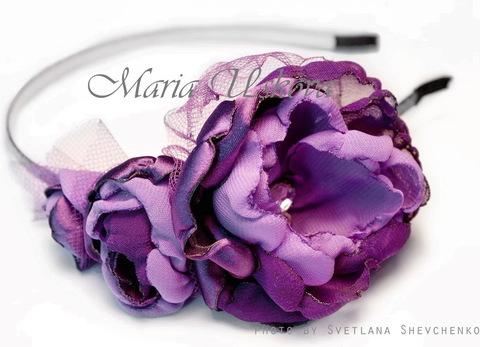 Ободок для волос с филигранью 56 мм (цвет - платина), 4,7 мм (Ободок с цветами. Пример)