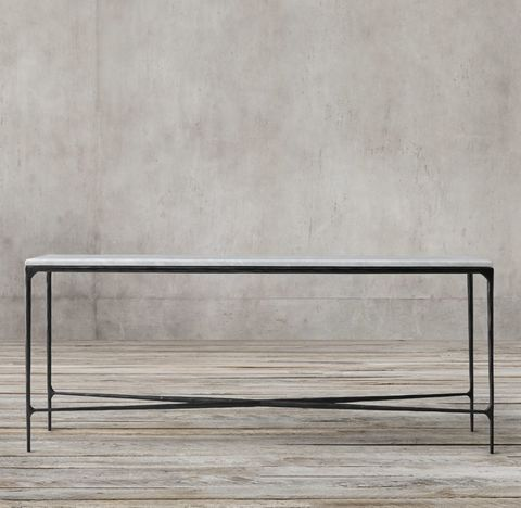 Thaddeus Forged Iron & Marble Rectangular Console Table
