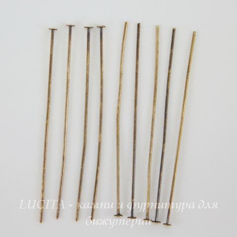Винтажные пины - гвоздики 38х0,5 мм (оксид латуни), 10 штук ()