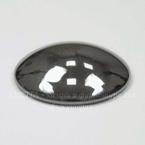 Кабошон круглый Гематит немагнитный глянцевый черный, 20 мм