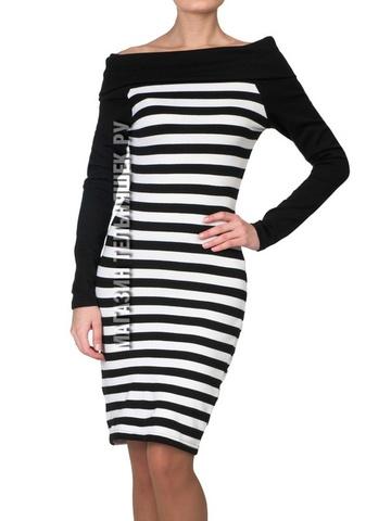 Теплое платье в морском стиле (черная полоса)