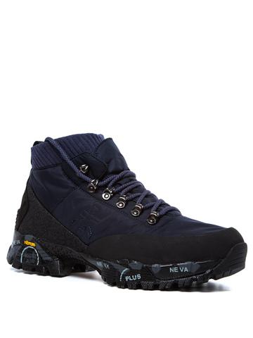 Текстильные ботинки Premiata Loutreck 0114 синие на шнуровке