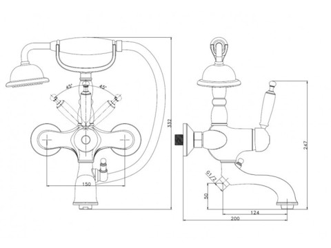 Смеситель для ванны Aksy Bagno  Faenza 401-Bronze схема