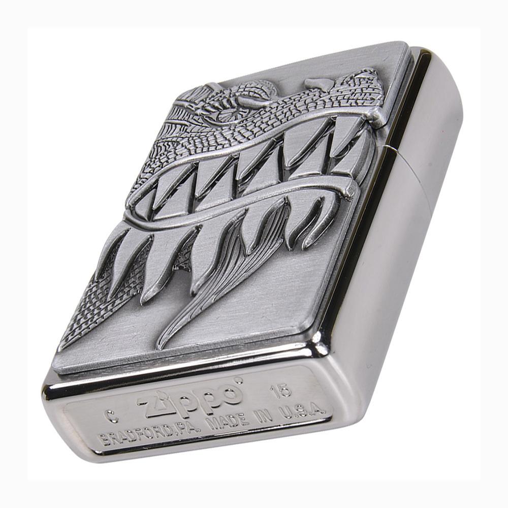 Зажигалка ZIPPO 200 Fire Breathing Dragon, латунь/сталь с покрытием Brushed Chrome, 36x12x56 мм