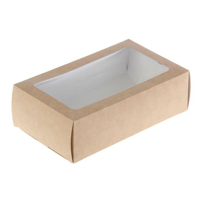 Коробка прямоугольная однотонная, с окном (мягкий картон), 1 шт.