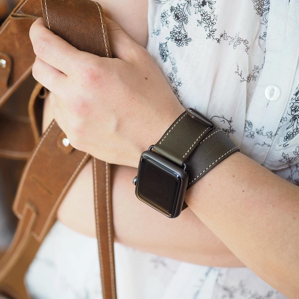 Ремешок для Apple Watch 42мм ST Double Strap из натуральной кожи теленка, цвета хаки