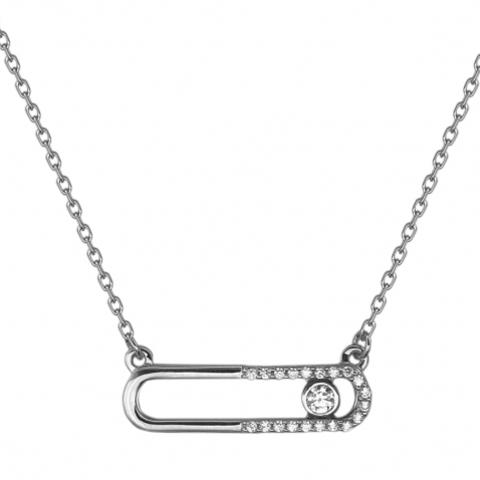 01Л121776 Колье из белого золота с двигающимися фианитами в стиле MESSIKA