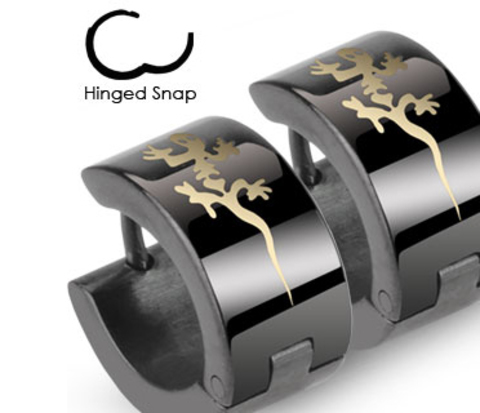 Широкие мужские серьги черного цвета с ящерицей, сталь, «Spikes»