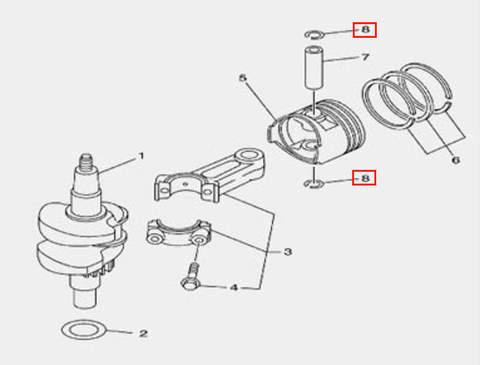 Стопорное кольцо пальца для лодочного мотора F5 Sea-PRO(3-8)