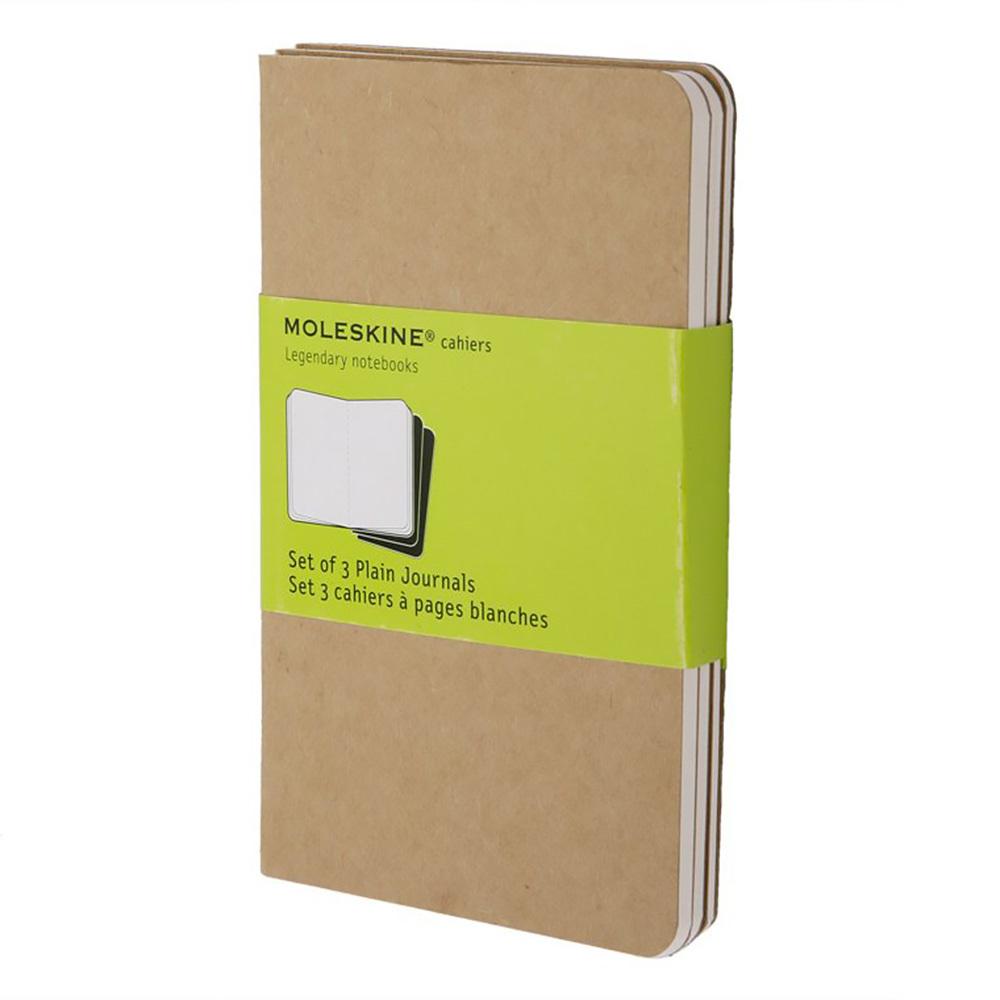 Набор 3 блокнота Moleskine Cahier Journal Pocket, цвет бежевый, без разлиновки