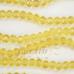 Бусина стеклянная, рондель с огранкой, цвет - медовый желтый, 4х3 мм, нить