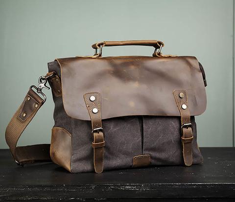 Мужская сумка портфель из кожи и ткани
