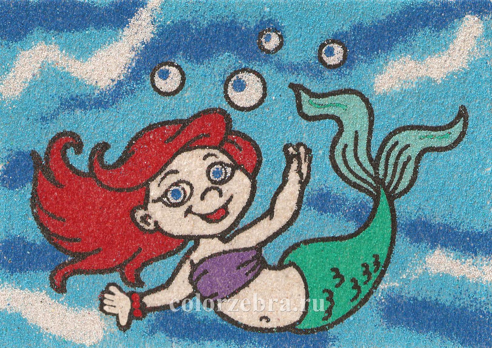 Песочный трафарет для девочек Русалочка А4