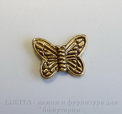 """Бусина металлическая """"Бабочка"""" 15х10 мм (цвет - античное золото), 10 штук ()"""