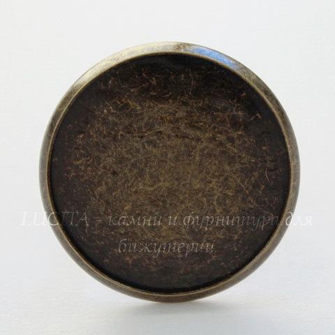 Основа для кольца с сеттингом для кабошона 27 мм (цвет - античная бронза)