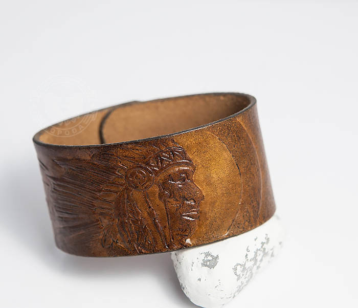 BL468 Мужской браслет ручной работы «Индеец» из натуральной кожи фото 05