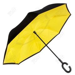 Зонт обратного открывания желтый механический