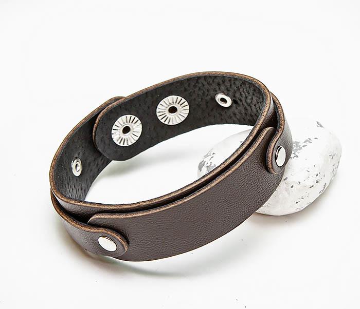 BL804-2 Коричневый кожаный браслет на застежках
