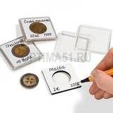 Квадратная капсула QUADRUM NOTE 50х50 мм, с вырезом для монеты D 17 mm (одна сторона белая для записей)