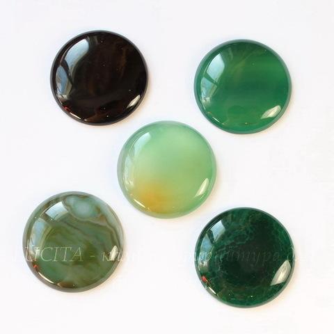 Кабошон круглый, Агат, цвет - зеленый, 30 мм