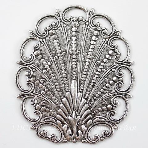 Винтажный декоративный элемент - штамп 49х42 мм (оксид серебра) ()