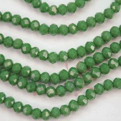 Бусина стеклянная, рондель с огранкой, цвет - темно-зеленый, 4х3 мм, нить