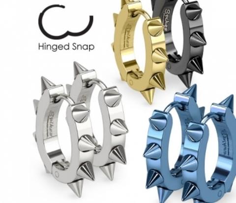 Мужские серьги «Spikes» с шипами стального цвета