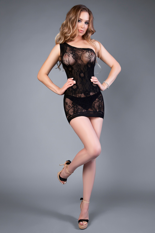 Мини платье-сетка на одно плечо черное (Боди-сетка)
