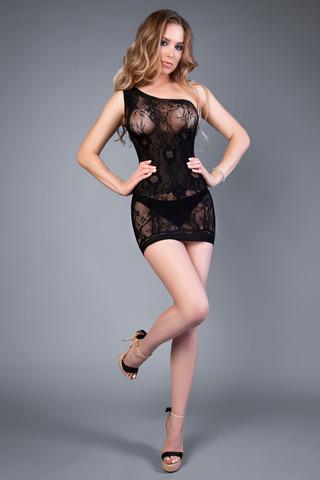 Мини платье-сетка на одно плечо черное