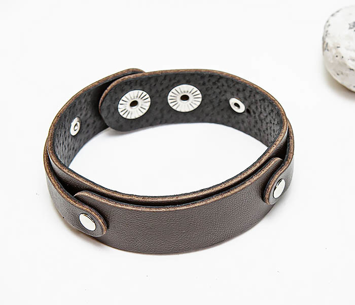 BL804-2 Коричневый кожаный браслет на застежках фото 03