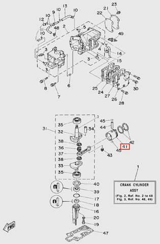 Поршень для лодочного мотора T5 Sea-PRO (2-41)