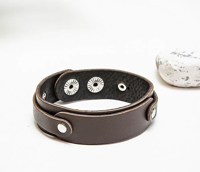 BL804-2 Коричневый кожаный браслет на застежках фото 04