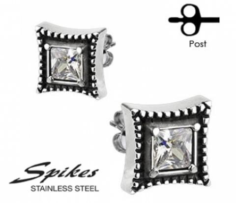 SSEM-139 Мужские серьги - гвоздики из ювелирной стали,