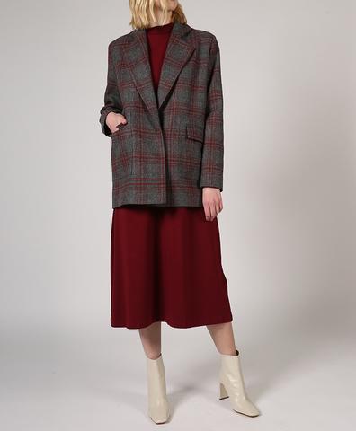 Пальто-жакет серого цвета в красную клетку