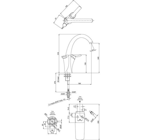 Смеситель для кухни с фильтром Jacob Delafon Carafe E18865-CP схема