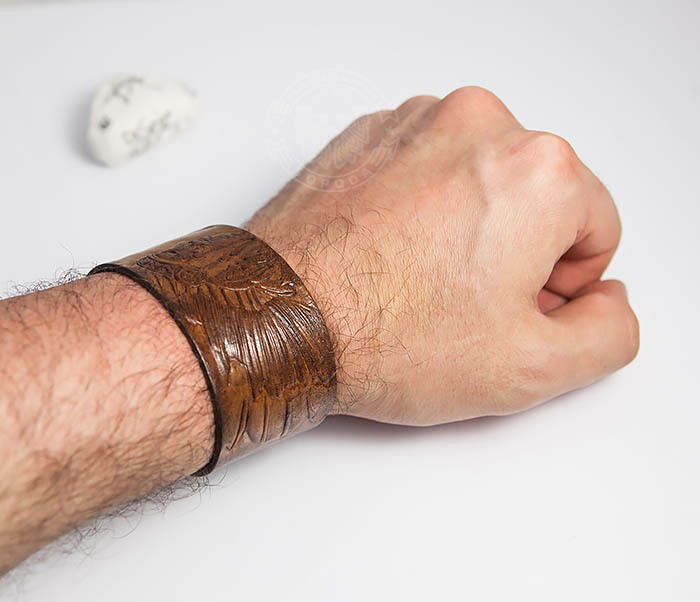 BL468 Мужской браслет ручной работы «Индеец» из натуральной кожи фото 07