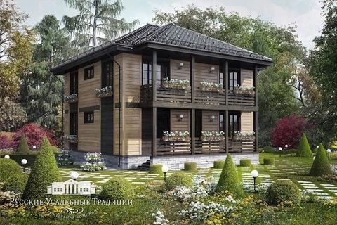 """Двухэтажный дом """"Пикабия"""" 186 кв.м. из СИП панелей с верандой и балконом"""