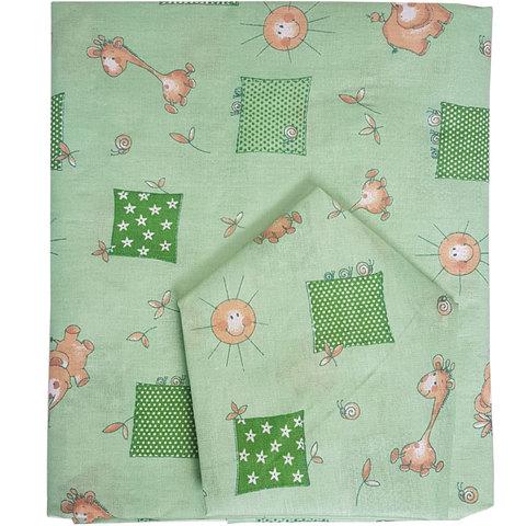 Папитто. Комплект постельного белья для новорожденных из бязи Жирафики, салатовый