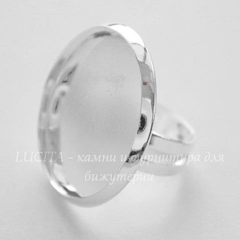 Основа для кольца с сеттингом для кабошона 27 мм (цвет - серебро)