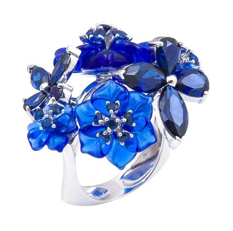 Кольцо с цветами из кварца и сапфиром Арт. 1169сс
