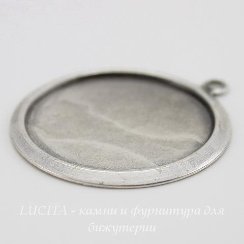 Сеттинг - основа - подвеска для камеи или кабошона 27 мм (оксид серебра) ()