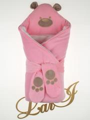 Зимний набор на выписку из роддома Панда (розовый)