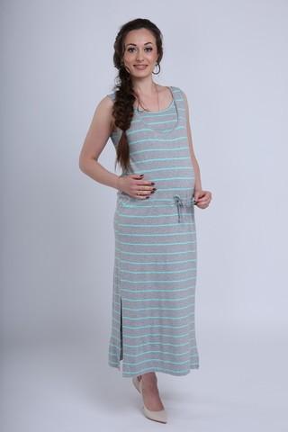 Платье для беременных и кормящих 08731 серый меланж/ментол