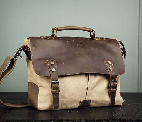Легкий мужской портфель из кожи и ткани