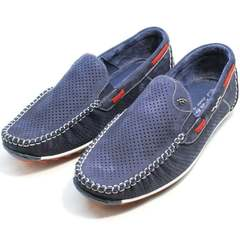 Кожаные туфли мокасины мужские лето Faber 142213-7 Navy Blue.