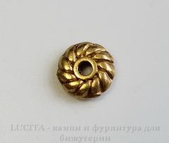 Бусина металлическая - спейсер 6х2 мм (цвет - античное золото), 10 штук