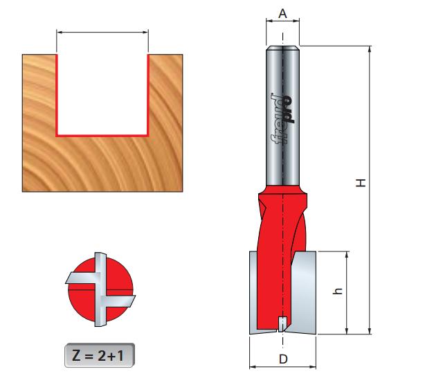 Фреза прямая торцевая 18 х 18,0 мм, L=70,0 мм с хв. 8 мм  Freud 1710208